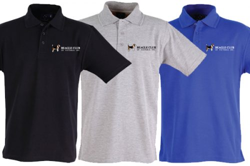 Beagle Club of Victoria Inc Polo Shirts - Black, grey and blue
